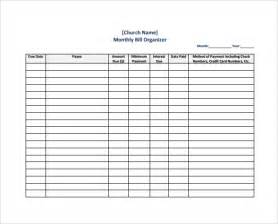 bill template sle bill organizer chart 4 documents in pdf