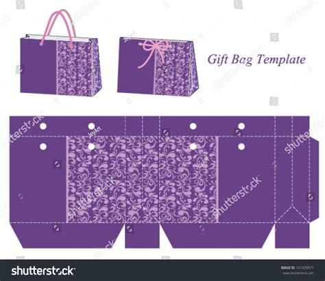 gift bag template gift bag template with purple floral pattern vector