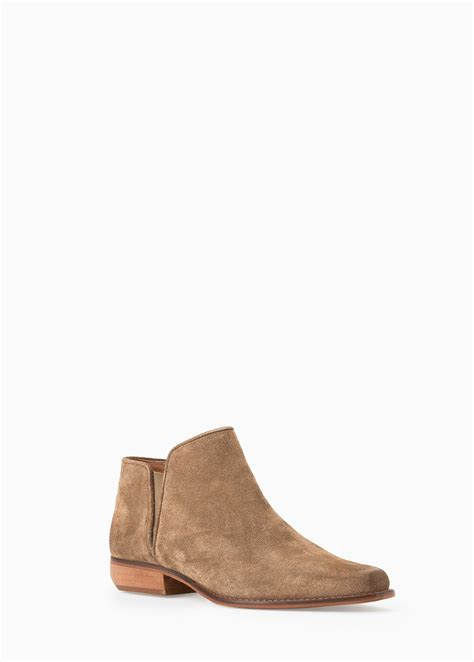 flat suede shoes mango flat suede ankle boots in lyst