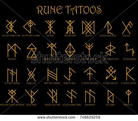 set runes tattoo meaning illustrator stock vector