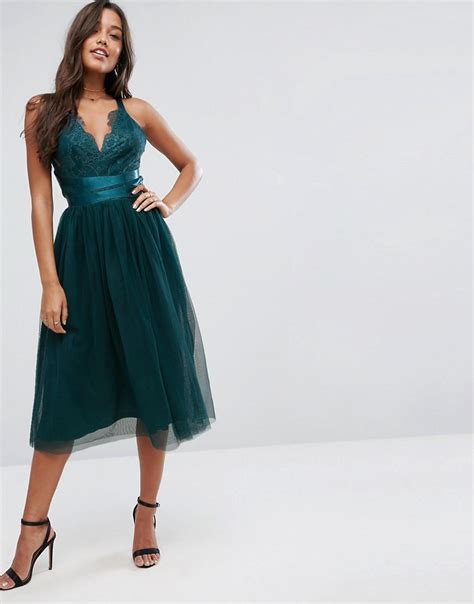 Asos Crochet Strapless Dress asos premium lace top tulle midi prom dress with ribbon