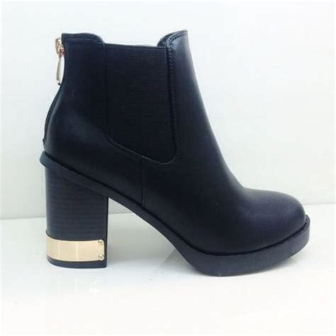 shoes heeled black leather ankle bootsts boots
