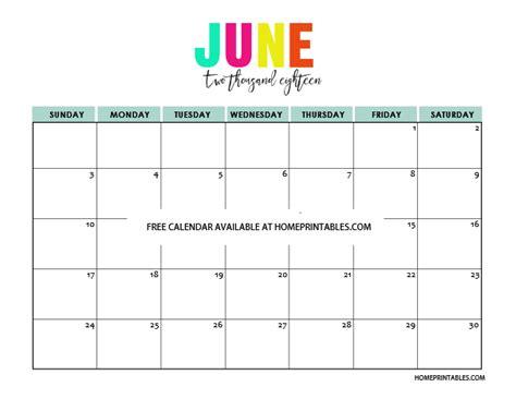 Calendar 2018 June July Printable Calendar 2018 In Colors Free To Print