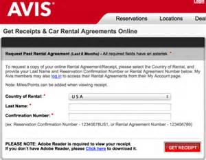 Avis Car Rental Agreement Us Rental Car Receipts Hertz National