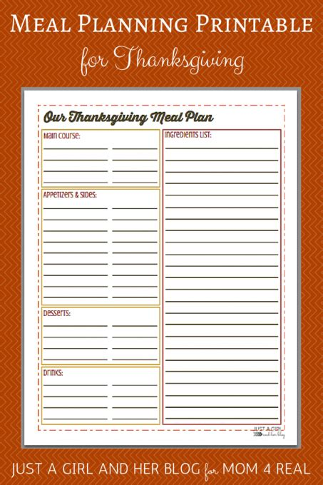 printable thanksgiving meal planner thanksgiving menu meal planning free printable