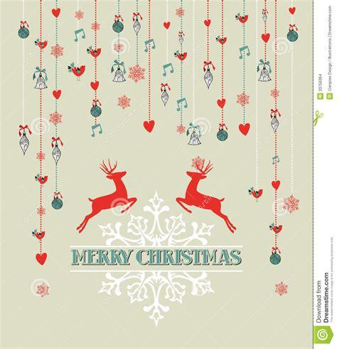 merry christmas vintage reindeer  bauble backgr stock