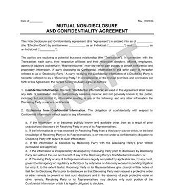 Mutual Non Disclosure Agreement Nda Legal Templates Non Disclosure Agreement Template New York