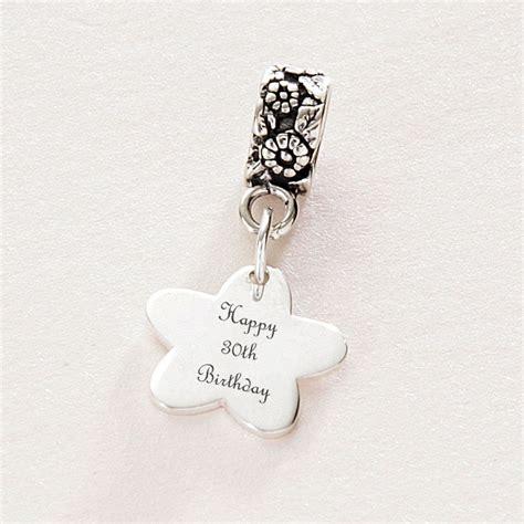 happy 30th birthday charm engraved silver fits pandora