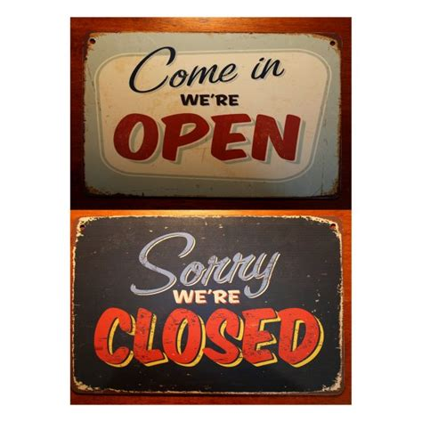 Open Closed Sign Template by Open Closed Sign Sided Classic Metal Signs