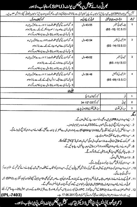 pattern tester jobs special protection unit punjab police jobs 2017 written
