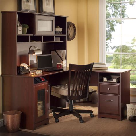 bush l shaped desk with hutch bush furniture cabot 60 in l shaped desk with hutch