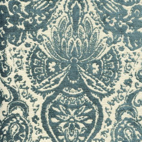 Swavelle Millcreek Upholstery Fabric by Gilsey Turquoise Blue Chenille Paisley Upholstery Fabric