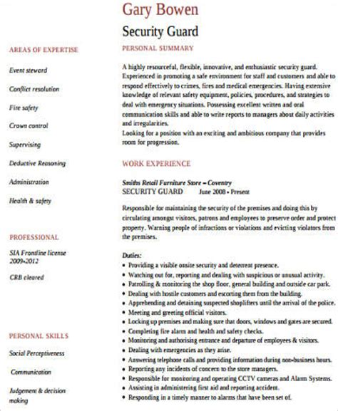 security guard cv format pdf 9 sle security resumes sle templates