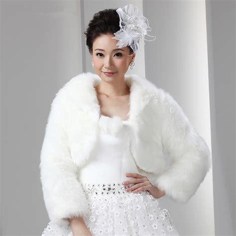 braut pelzjacke short white artificial fur bolero with long sleeves women