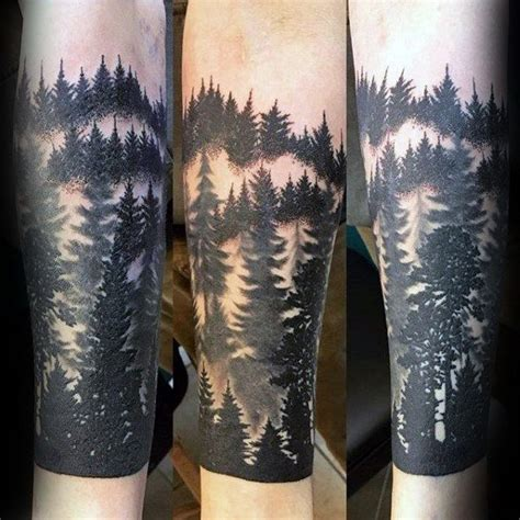 black ink male forest sleeve tattoo ideas half sleeves