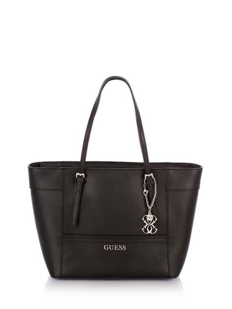 Tas Guess Delaney Mini Original Bag guess delaney small classic tote bag in black lyst