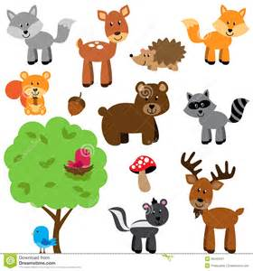 Farm Animal Wall Stickers vector set of cute woodland and forest animals cartoon