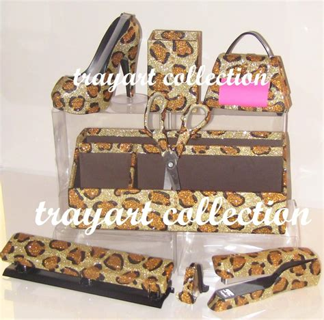 Leopard Desk Accessories 8pcs Of Gold Leopard Dispenser Pop Up Note Dispenser Organizer Pen Holder Stapler