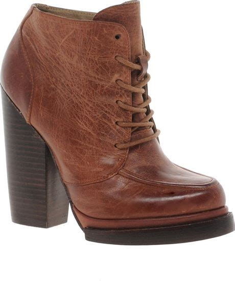 aldo moffett heeled lace up boot in brown cognac28 lyst