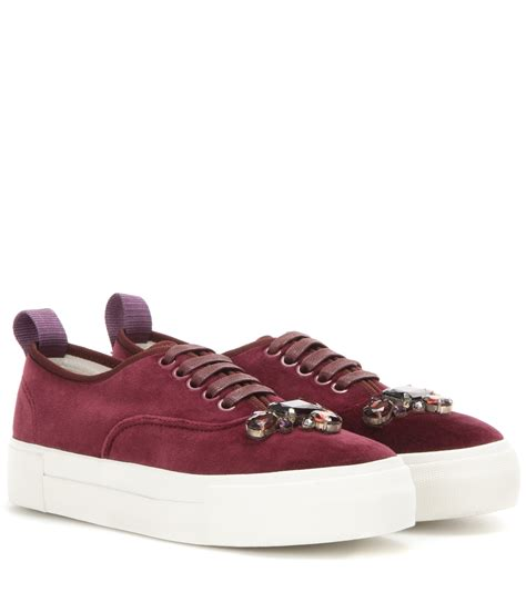 velvet sneakers carolina herrera embellished velvet sneakers in