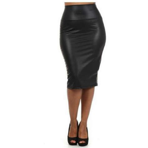 autumn winter high waisted skirt faux leather pencil skirt
