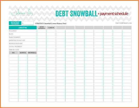 excel template to payoff credit cards snowball payment spreadsheet