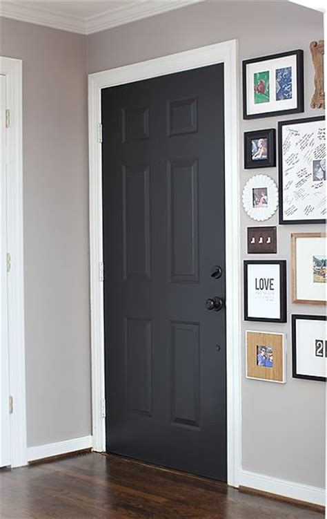door color black suede by behr satin finish with primer built in they didn t sand before