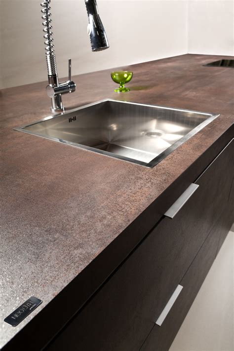 neolith iron copper porcelain kitchen countertop and