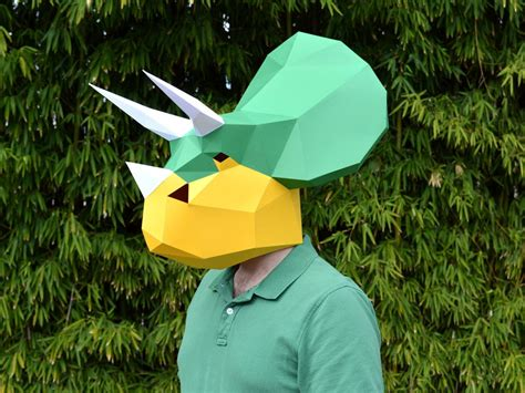 How To Make A 3d Dinosaur Out Of Paper - make your own triceratops dinosaur mask with by