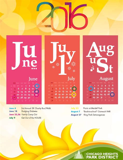 Chicago Summer Calendar 2016 Summer Calendar Of Events Chicago Heights Park District
