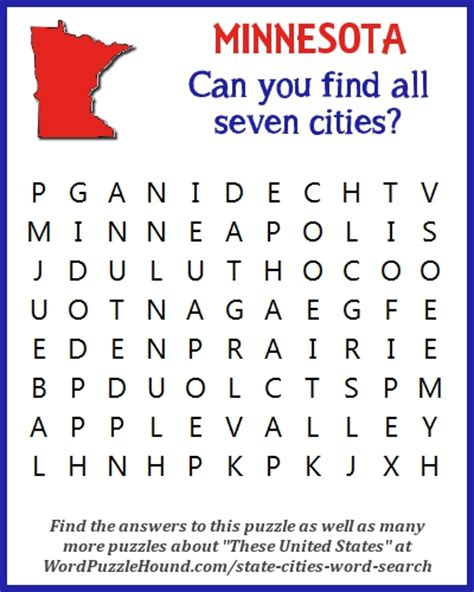 Minnesota Search State Of Minnesota Cities Word Search Word Puzzle Hound
