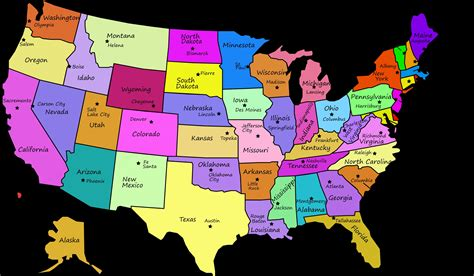 online map of the united states quiz united states map with capitals and state names clipart