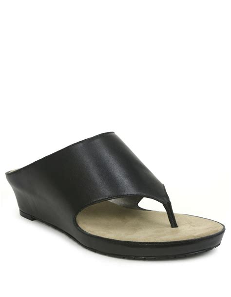 tahari leather slide wedge sandals in black lyst