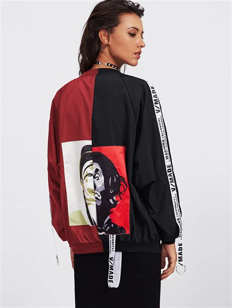 Dickens Bomber Dual Tone Jacket patch back ribbon detail two tone bomber jacket shein sheinside