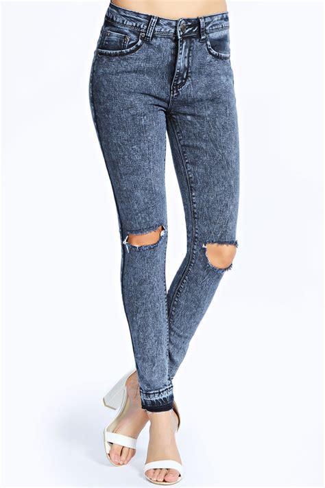 Ripped Cut Out Navy boohoo jessa ripped knee cut hem where to buy how to wear