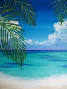 Surfing Wall Murals wine amp design ocean amp palm trees watercolor and acrylics