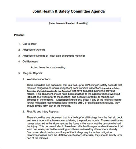 health and safety committee meeting agenda template meeting agenda template 46 free word pdf documents