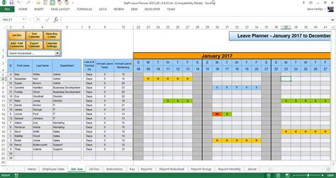 2016 annual leave planner in excel calendar template 2016