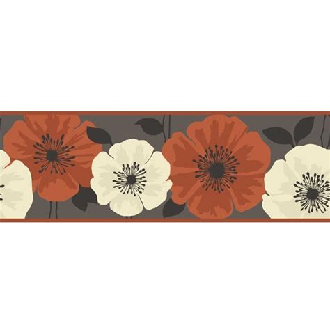 Black Flower Wall Stickers buy fine decor poppie wallpaper border brown orange