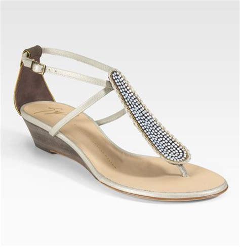 giuseppe zanotti jeweled demi wedge sandals in silver lyst