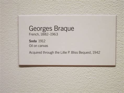design a label guidelines on labelling for museums georges braque quot soda quot 1912 museum of modern art