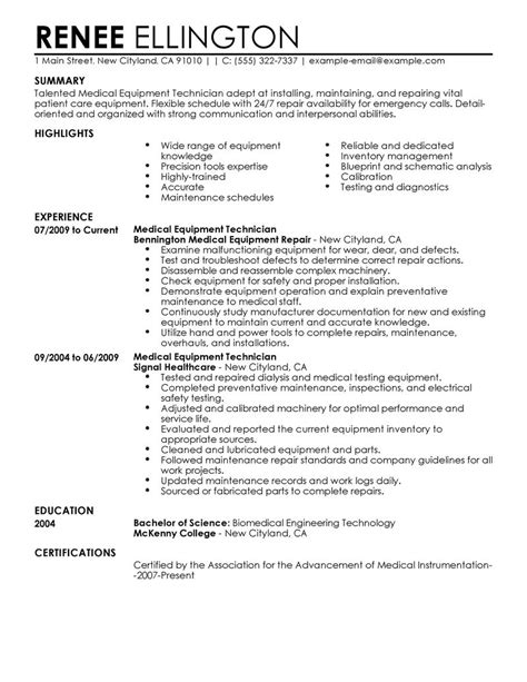 Instrument Repair Sle Resume by Best Equipment Technician Resume Exle Livecareer