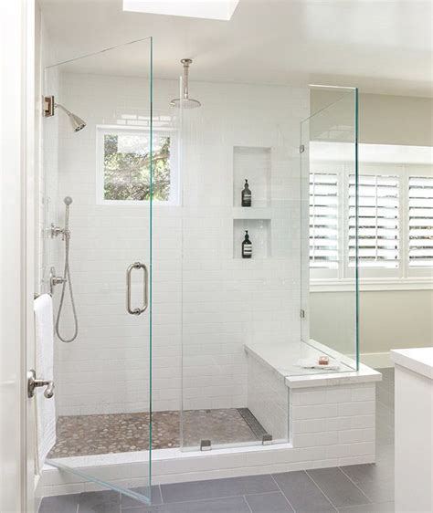 bathroom walk in shower modern bathroom features a walk in shower clad in a