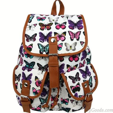 Backpack Butterfly leisure butterfly print rucksack two pockets college