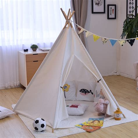 Tenda Anak Indoor ins solid white canvas portable indian play tent children