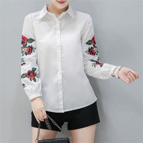 Sleeve Embroidered Shirt s sleeve blouse floral embroidered shirt