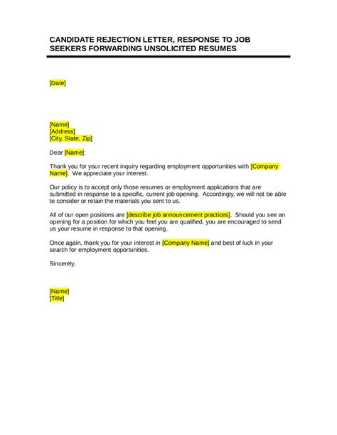 Rejection Letter Unsolicited Application Candidate Rejection Letter Sle Articleezinedirectory