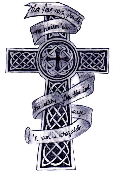 celtic cross with rose tattoo black and grey owl with banner design by robertargal