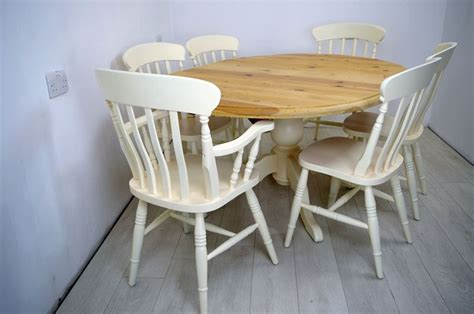 Extended Oval Pine Pedestal Table and 6 Beech Chairs