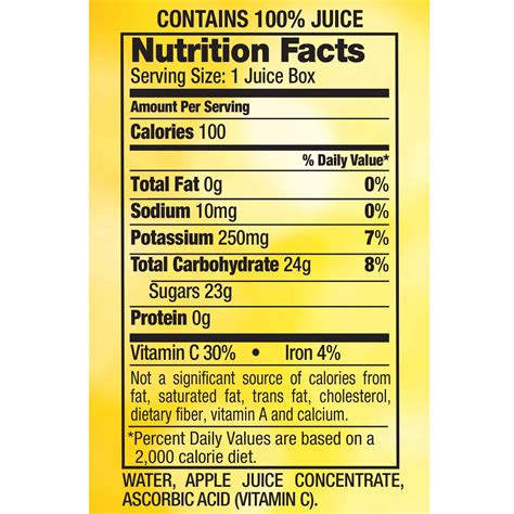 Apple Juice Aufkleber by Mott S Apple Juice Nutrition Label Besto Blog